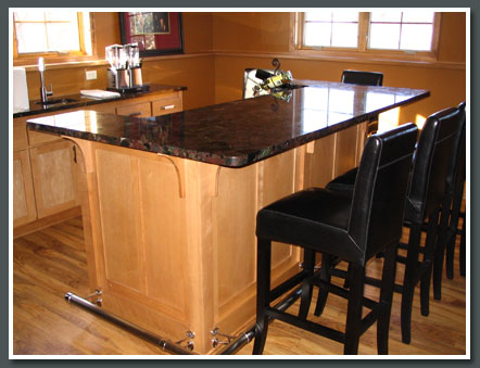 Granite Bar Top with Steel Foot Rest